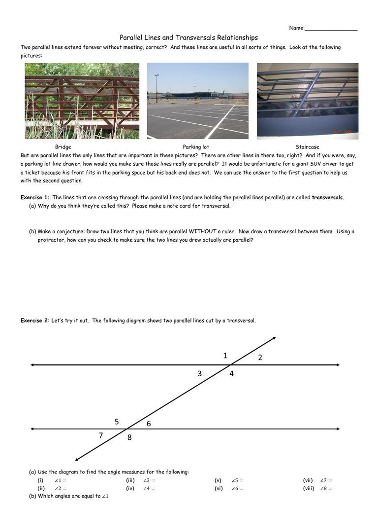 Parallel Lines and Transversals Worksheet – Transversals Worksheet