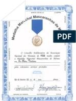 Diploma Medalha Marechal Mascarenhas  de Moraes atribuida a Artur Victoria