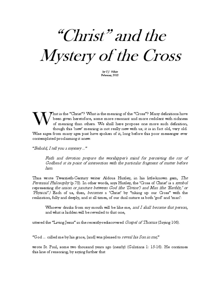 Christ And The Mystery Of The Cross Mythology Heaven
