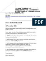 Latest in the State, MI5 (Security Service) cover-up in the Martin McGartland case.   Freedom of Information Request to the Association of Chief Police Officers of England, Wales and Northern Ireland