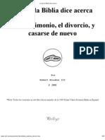 Lo Que Dice La Biblia Dice Acerca Del Matrimonio El Dicircio, y Casarse de Nuevo