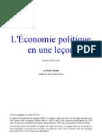 Henry Hazlitt Economie Politique en Une Lecon