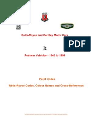 Rolls- Royce and Bentley Paint Codes