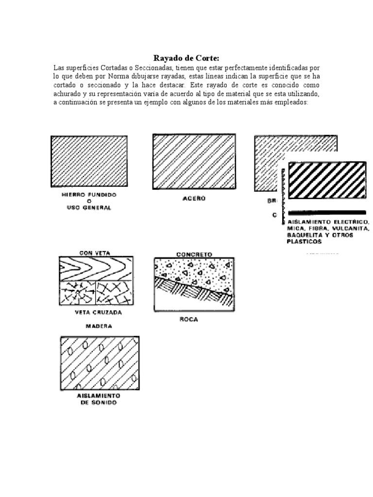 Tipos de achurados dibujo tecnico for Tecnicas de representacion arquitectonica pdf
