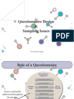 Marketing Research - Questionnaire Design & Sampling Issues