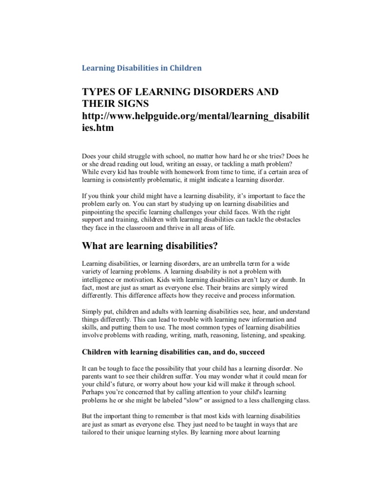 Learning Disabilities And Disorders Helpguide Org >> Learning Disabilities In Children Learning Disability Reading