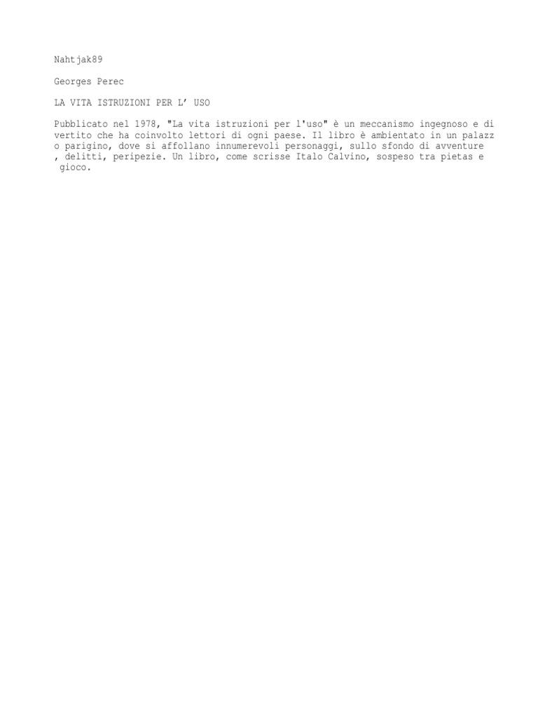 76097315 Georges Perec La Vita Istruzioni Per l Uso 96eb4ae6150