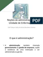Noções de administração na Unidade de Enfermagem