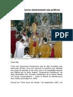 Un évêque tance sévèrement ses prêtres