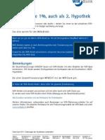 Finanzieren - WIR-Kredite 1 Prozent