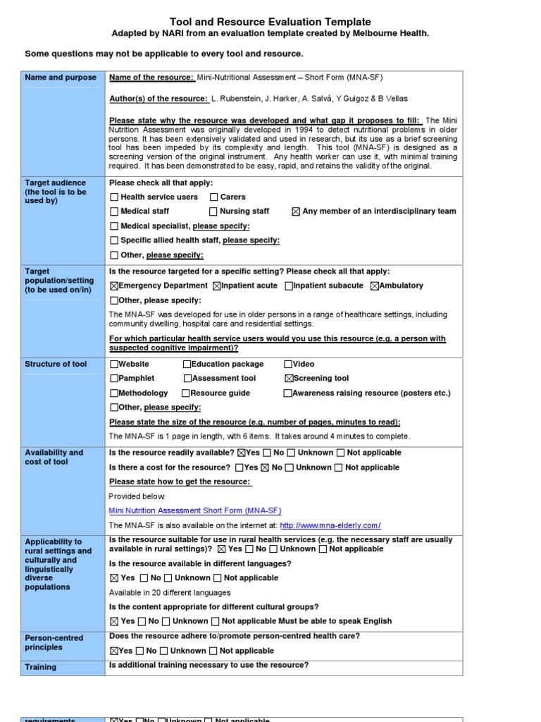 Mini Nutrition Assessment Short Form Mna Sf