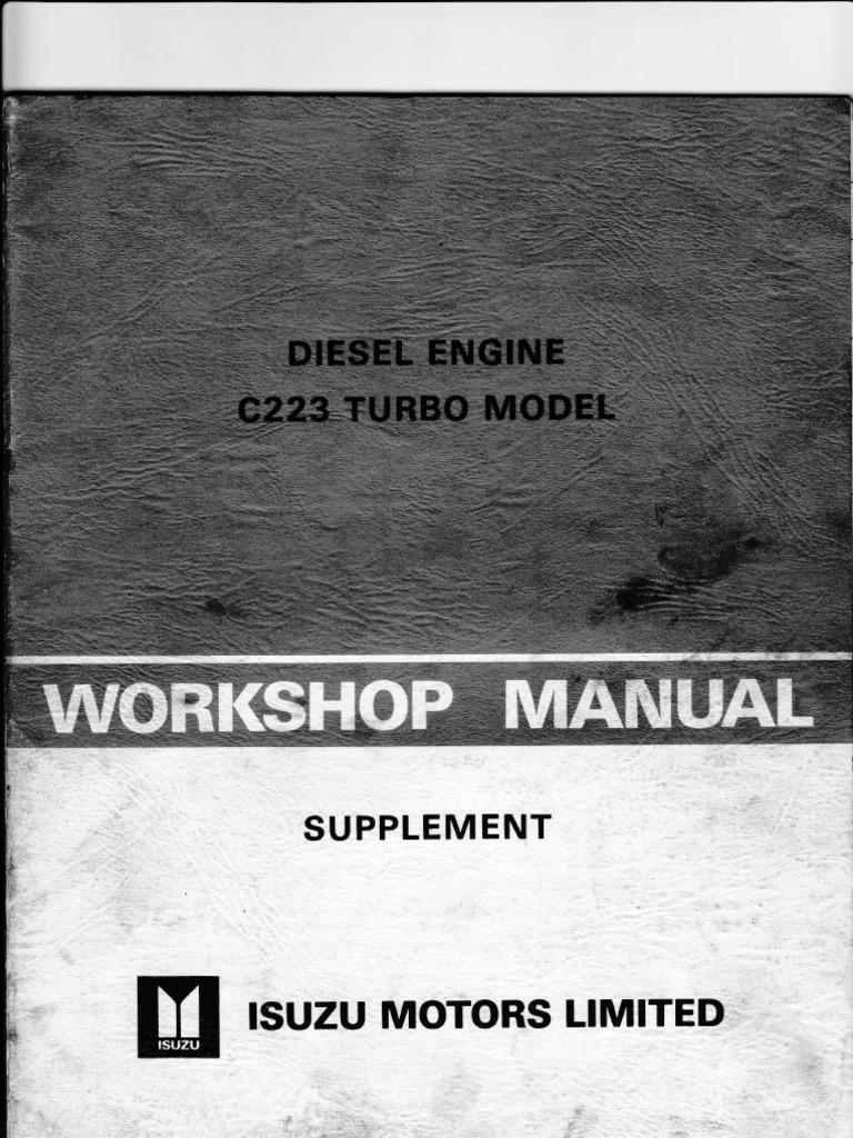Isuzu I Mark Repair Manuals Nissan Td27 Engine Manual Pdf 249 Array C223 Turbo W Shop Turbocharger Cylinder Rh Scribd