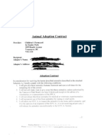 Vancouver Parks Board animal adoption contract