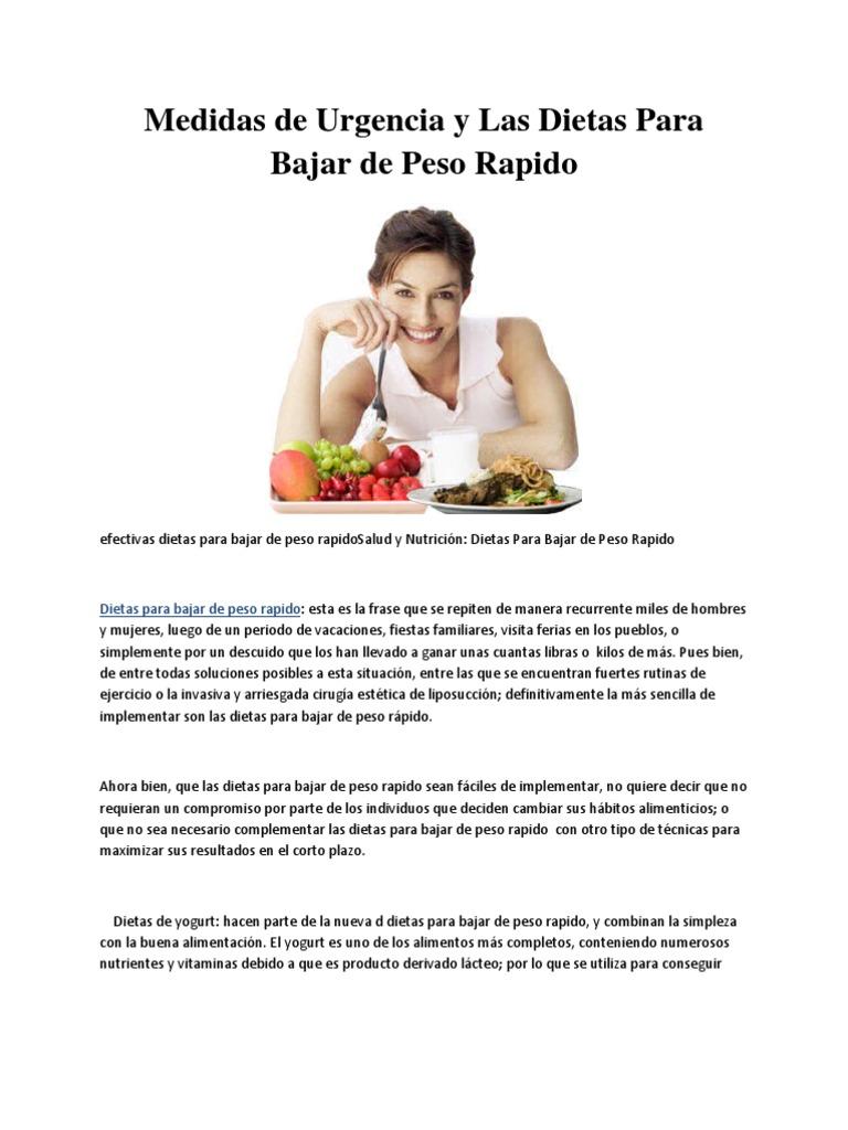 Dietas para bajar de peso que sean efectivas
