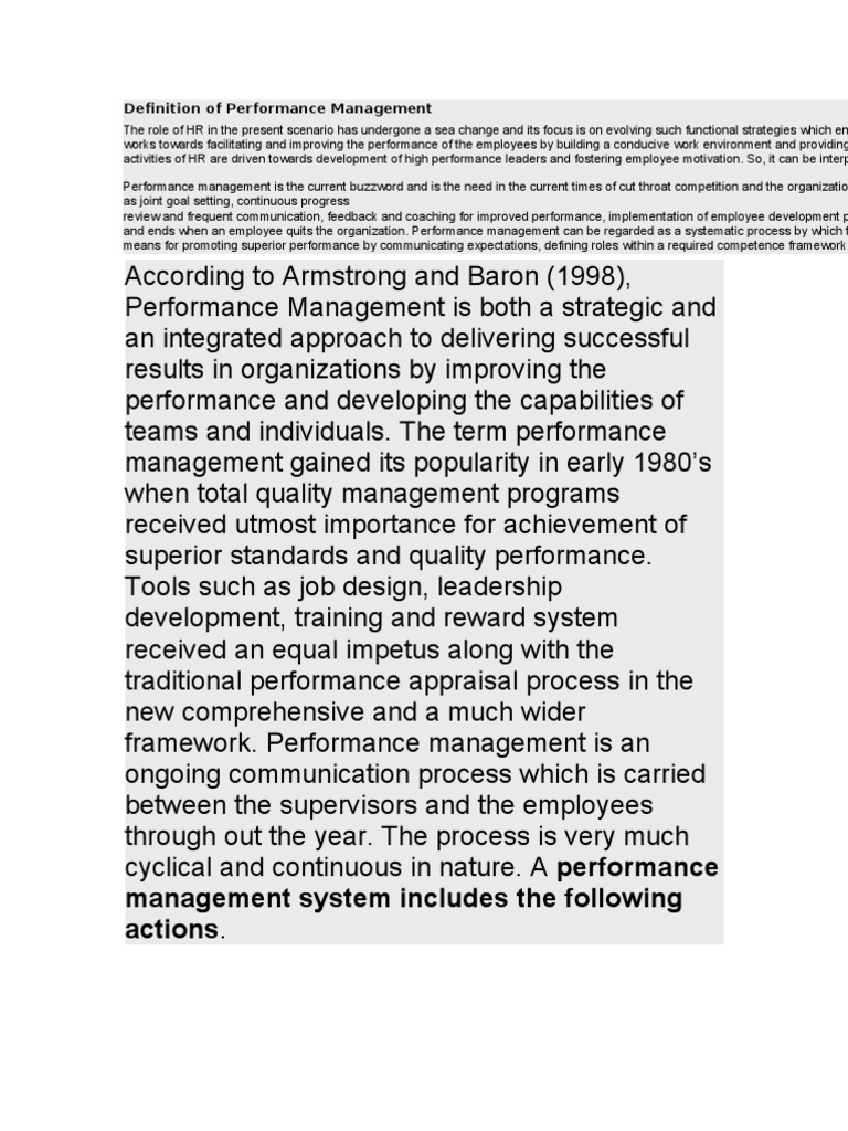 definition of performance management | performance management