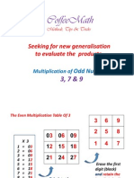 Tabulate Multiplication Products To Evalute Generalisation ( Odd Numbers )