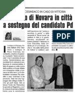Il Sindaco di Novare in città a sostegno del candidato Pd