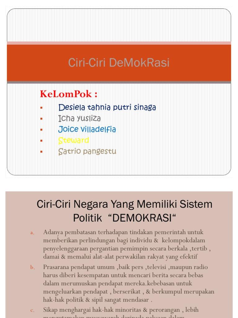 Ciri Ciri Demokrasi Pkn