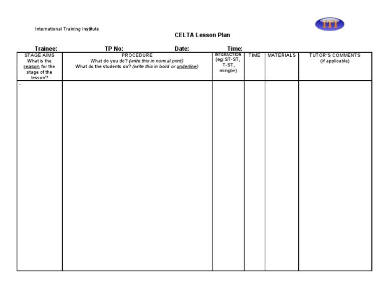 Celta Lesson Plan Procedures Template