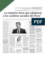 La empresa tiene que adaptarse a los cambios sociales del Perú