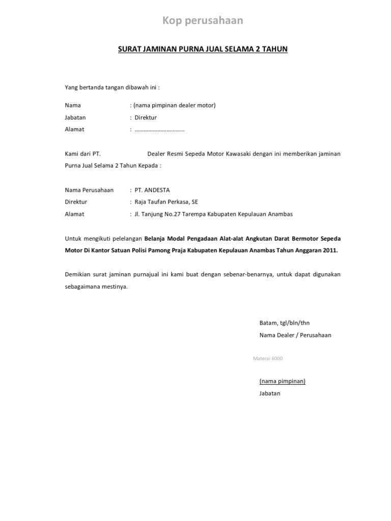 Contoh Surat Dukungan Dan Jaminan Purnajual