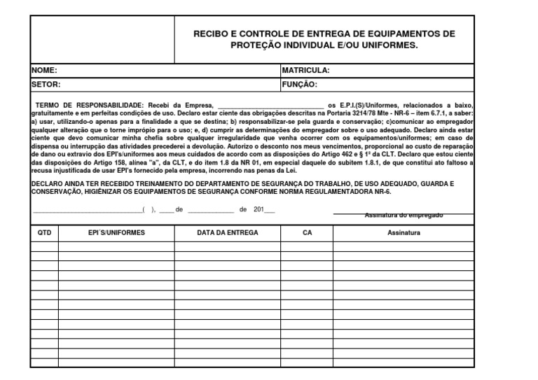 c0908f8367f6c Modelo de Ficha para entrega de EPI s