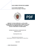 ORIGEN Y EVOLUCIÓN DE LA ACTUACIÓN VETERINARIA EN LOS FESTEJOS Y ESPECTÁCULOS TAURINOS. Dra. María Begoña Flores Ocejo