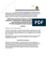 """PREA Demonstration Projects to Establish """"Zero Tolerance"""" Cultures For Sexual Assault in Local Adult and Juvenile Correctional Facilities FY 2012 Competitive Grant Announcement"""