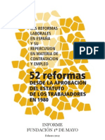 """Informe """"52 reformas desde el Estatuto de los Trabajadores en 1980"""""""