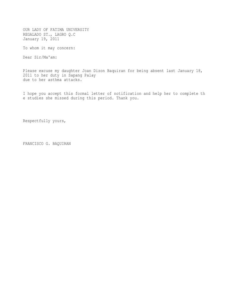 Excuse letter duty spiritdancerdesigns Gallery