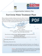 Fort Irwin Water Treatment Plant Business Opportunity RSVP