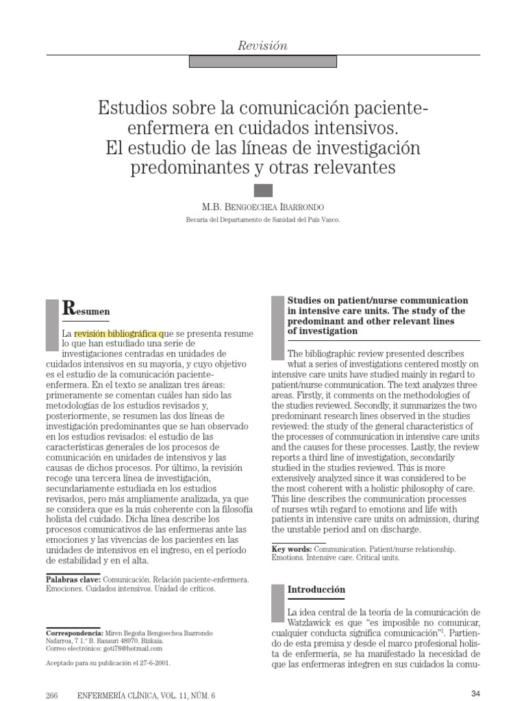 Comunicacion Enfermera-paciente en Cuidados Intensivos