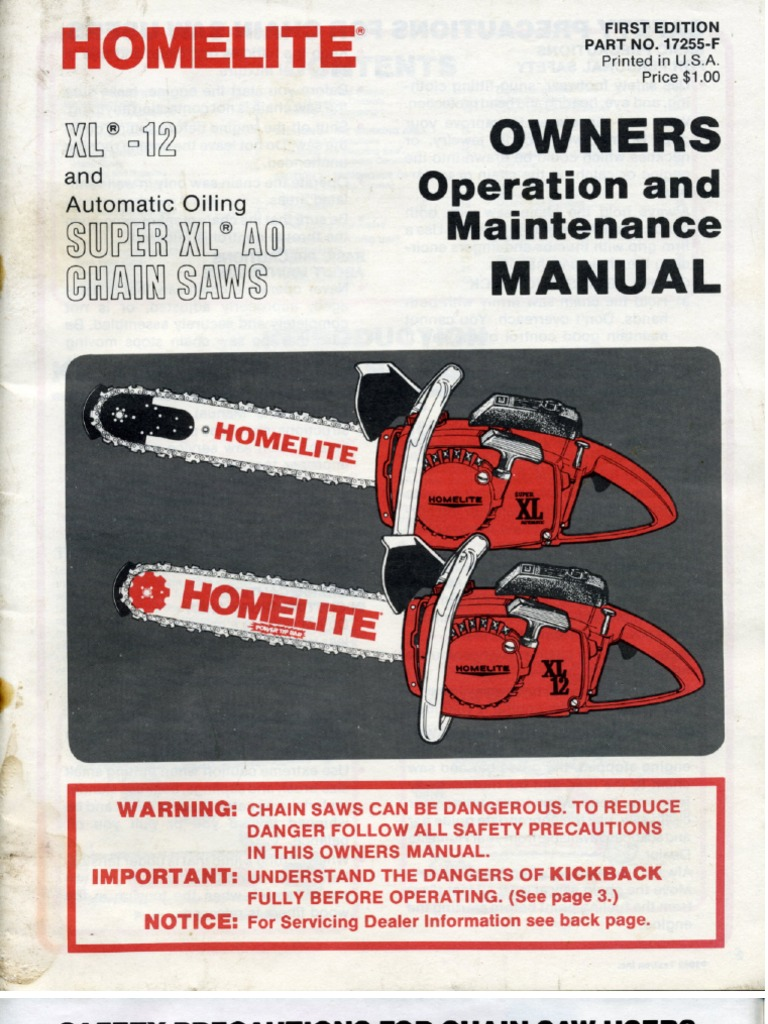 Homelite owners manual xl 12 sxlao greentooth Choice Image