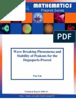 Yue Liu- Wave Breaking Phenomena and Stability of Peakons for the Degasperis-Procesi Equation