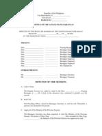 Model Minutes of the Session of the Sangguniang Barangay