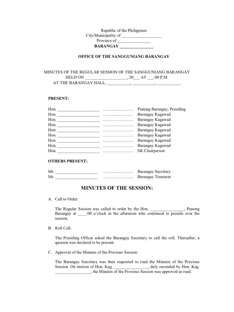 Model Minutes Of The Session Of The Sangguniang Barangay Gambling