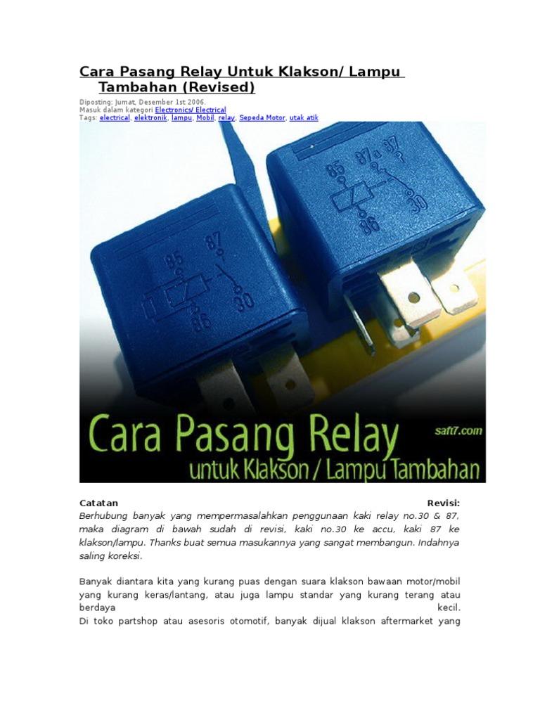 Cara pasang relay untuk klakson ccuart Images