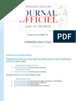 Journal Officiel de La République Française N° 266 Du 15 Novembre 2008