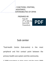 SUB CENTRE – FUNCTIONS, STAFFING, PATTERNS