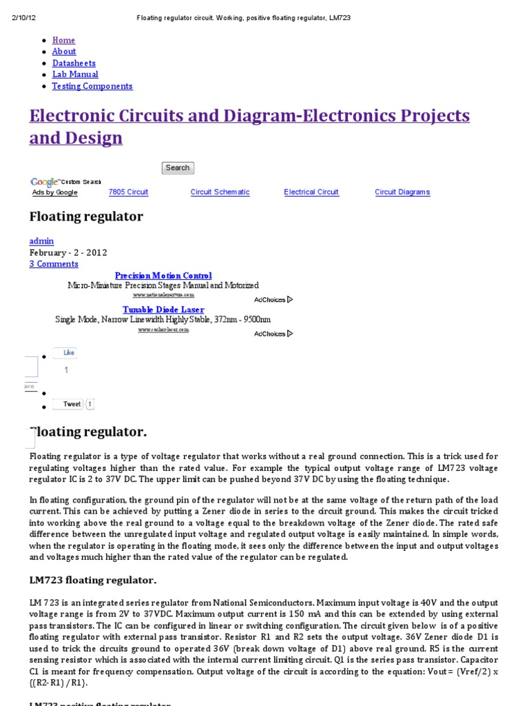 Floating Regulator Electronic Circuits And Diagramelectronics Circuit Diagrams Designing Electric Power Electrical Engineering