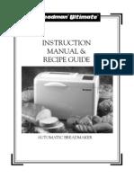 Breadman Ultimate TR4000 Bread Maker Manual