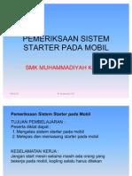 Pemeriksaan Sistem Starter Pada Mobil