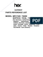 PARTLIST MFC7420, 7820N, DCP7010, 7010L, 7025
