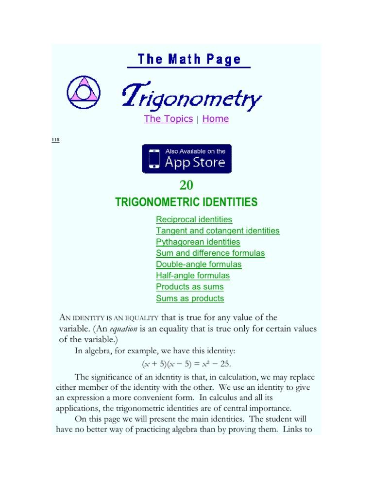 worksheet Pythagorean Identities Worksheet trigonometry identities trigonometric functions sine