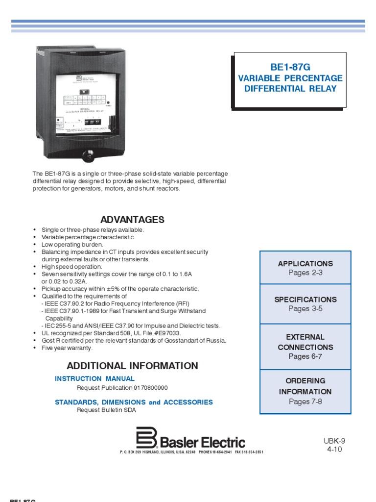 Basler BE1-87G Datasheet | Relay | Power Supply