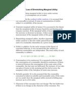 Assumptions of Law of Diminishing Marginal Utility