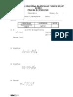 Prueba de Proceso de Matemática Nivel I Fecha 18 Nov 2008