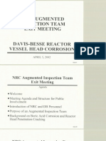 NRC Augmented Inspection Team Davis Besse Reactor Vessel Head Degradiation Diagram - April 5th, 2002