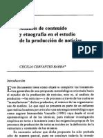 Analisis de Contenido y Etnografia Para El Analisis de La Produccion de Las Noticias