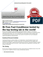 Bitron Fuel Conditioner tested by the top testing lab in the world!